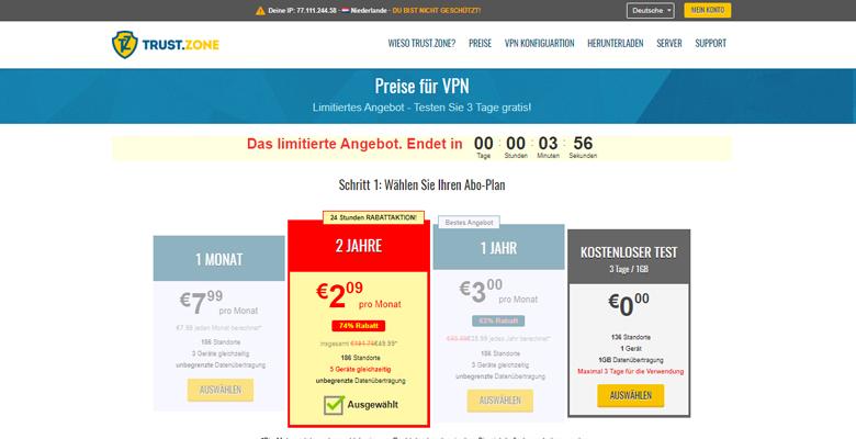 Trust  Zone VPN Price