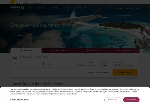 Qatar Airways Website Screenshot