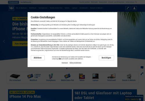 1&1 All Net Flat Website Screenshot