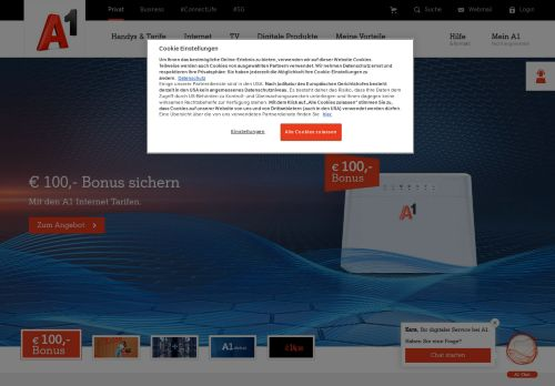 A1 Website Screenshot