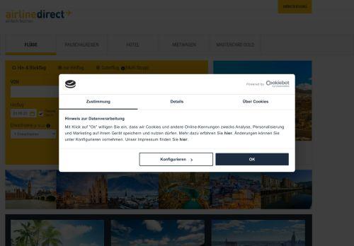 airline direct Website Screenshot