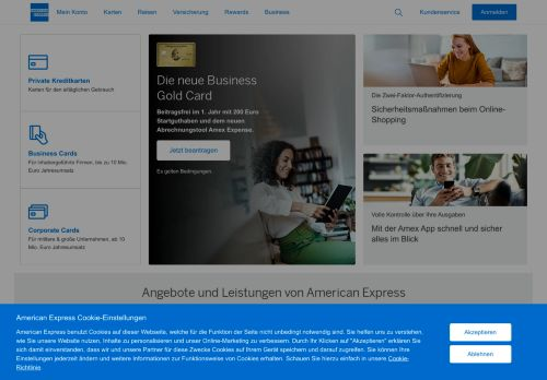 American Express Website Screenshot