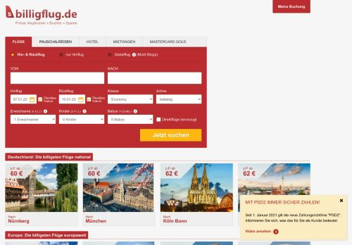 billigflug.de Website Screenshot