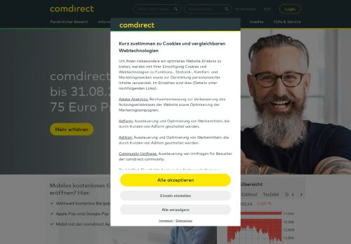 comdirect Website Screenshot