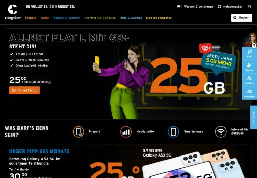 congstar Website Screenshot