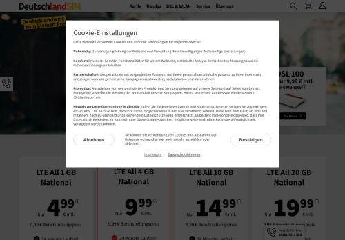 DeutschlandSIM Website Screenshot