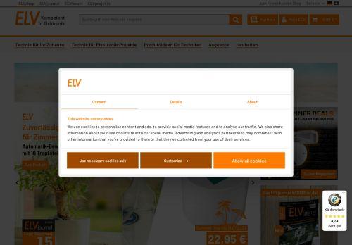 ELV Website Screenshot