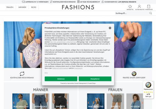 FASHION5 Website Screenshot