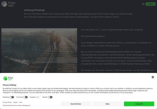 Fidor Bank Website Screenshot