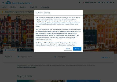 KLM Website Screenshot