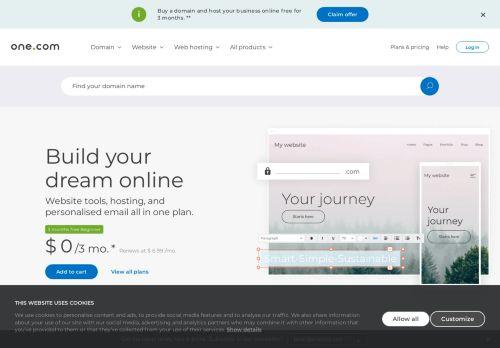 One.com Website Screenshot