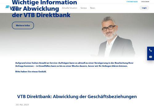 VTB Bank Website Screenshot