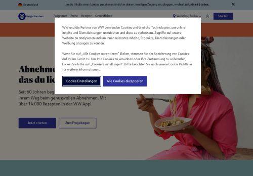 Weight Watchers Website Screenshot